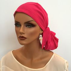 Pre-Tied 'Jessica' Scarf - Hot Pink a Cancer, Chemo, Alopecia Hat, Scarf, pre-tied head cover for women with hair loss. by InspirationalHeadCov on Etsy