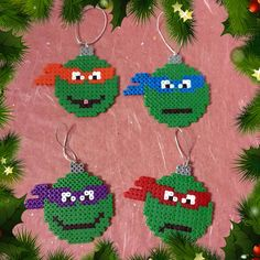 TMNT Christmas Baubles hama perler beads by ZoZoTings