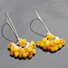 Yellow Flower Chandelier Earrings Honeysuckle by LavenderRabbit, $14.00