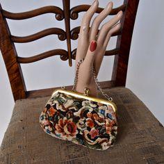 Vintage Purse Upholstered Carpet Bag Green Ivory Black Blue Brown and Leather