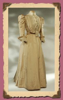 Clothes Antichi- Collection 1900-1910...Two-piece suit (skirt and bodice) in faille silk beige.  The bodice is closed at the front, in the center, 16 hooks and stiff in front of 3 battens.
