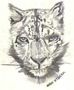 leopardo de las nieves en acuarela