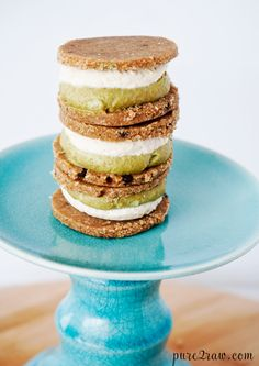 Raw gluten-free vegan mint chocolate chip cookie sandwich with a creamy filling. These cookies are a wonderful dessert recipe to enjoy anytime of the year. They are not your average cookie sandwich - No baking. No flour. No eggs. No gluten.
