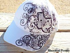 White baseball cap with Texas state silhouette by ShootenPretty