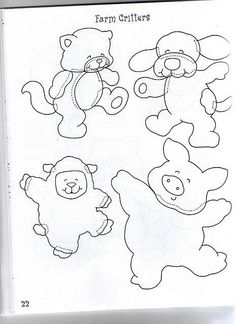 patterns for bear, sheep, and pig.  022(2) by flavia_sm1963, via Flickr