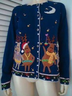 ARRIVISTE Christmas Sweater L Reindeer Appliques Cardigan Blue Ramie Cotton UGLY