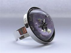 Dragonflies in resin galaxy adjustable ring