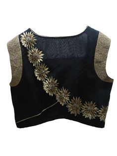 Black and Gold Flower Embroidery Silk Saree Blouse Designs 22 Graceful Pics of simple thread work blouse & Saree designs Black Blouse Designs, Saree Blouse Neck Designs, Choli Designs, Blouse Patterns, Sewing Patterns, Sari Design, Stylish Blouse Design, Bollywood, Work Blouse