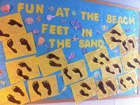 Bulletin Board Ideas! Beach Bulletin Boards, Unique Bulletin Board Ideas, Toddler Bulletin Boards, Elementary Bulletin Boards, Preschool Bulletin, Classroom Bulletin Boards, Classroom Decor, Reggio Classroom, Classroom Displays