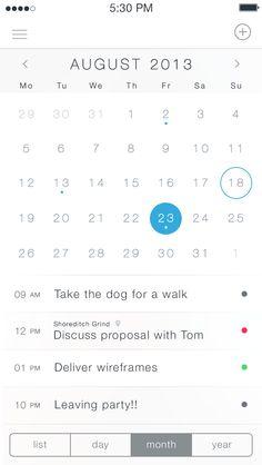 iOS7 Calendar App - by Charles Patterson   #ui