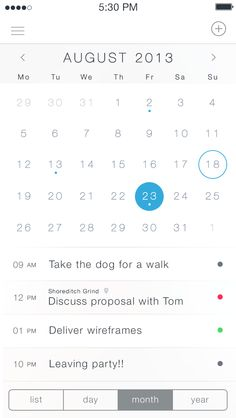 iOS7 Calendar App - by Charles Patterson | #ui