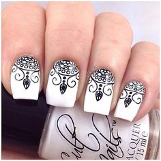Black and White Stamped Henna Nails