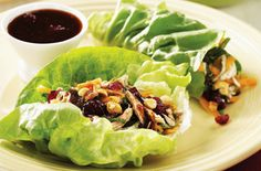 Triple Cranberry Chicken Lettuce Wraps but is swap the sugar for stevia!