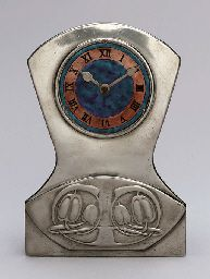 ENAMELED PEWTER AND COPPER CLOCK  ARCHIBALD KNOX, FOR LIBERTY & CO., CIRCA 1902-1905