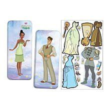 Disney's Princess and the Frog Magnetic Paperdoll Tin Set by Lee Publications. $8.08. Kit includes a tin with pictures of both to store pieces.. Magnetic dolls include Tiana & Prince Naveen.. Great for travel!  Dress the dolls with magnet outfits & accessories on the tin, then store the magnets inside for easy clean up!  Just like old fashion paper dolls ONLY BETTER!  Plus bonus outfits, magnets and story card!  Your child will be enjoy endless entertainment with Rose...