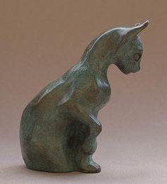 sculpture bronze chat oriental par Véronique de Saint Vaulry