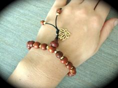 PICK YOUR CHARM! Yogi Bead Wooden Mahogany Prayer Mala Charm Bracelet