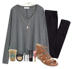 """Ootd// not ready for Spanish presentations ☹️"" by madelyn-abigail ❤ liked on Polyvore featuring H&M, MANGO, New Directions, Kendra Scott, Bare Escentuals, Benefit, Too Faced Cosmetics and NARS Cosmetics"