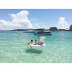 Rent a pontoon with us and head to Crab Island for the day! Relaxation at its finest! #crabisland #destin #pontoonrental #florida