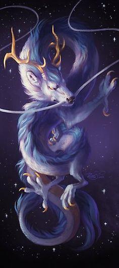 """Cosmic Dragon"" by Junryou Mythical Creatures Art, Mythological Creatures, Magical Creatures, Fantasy Dragon, Fantasy Art, Photo Dragon, Animal Espiritual, Design Dragon, Beautiful Dragon"