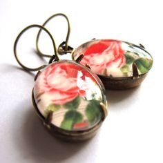 Romantic Pink Rose Earrings Glass Retro Jewelry