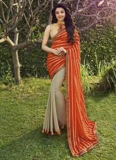 Shop Saara Orange And Beige Printed Georgette Party Wear Saree172s6612 by Saara online. Largest collection of Latest Sarees online. ✻ 100% Genuine Products ✻ Easy Returns ✻ Timely Delivery