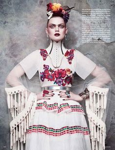 Frida Kahlo: Guinevere Van Seenus By Luigi + Iango For Vogue Germany June 2014