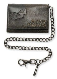 Harley-Davidson Men's Burnished Tri-Fold Skull Biker Chain Wallet BM2625L-TanBlk