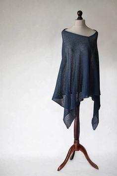 READY to SHIP denim linen poncho wrap sweater by KnitwearFactory