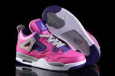 Big Kids Jordan Shoes Kids Air Jordan 4 GS Pink Purple Grey [Kids Air Jordan 4 - Kids Air Jordan 4 GS Pink Purple Grey here features an anodized reflective upper and purple on the coated mesh, laces tabs, tongue patch and inner lining. Jordan Swag, Jordan 4, Michael Jordan, Cheap Jordans, Jordans Girls, Jordan Shoes For Kids, Purple Grey, Purple Shoes, Lit Shoes