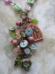 Vintage+button+necklace++'Secret+Garden'++with+by+TheBigRedButton