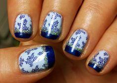 Blue Lace Nails