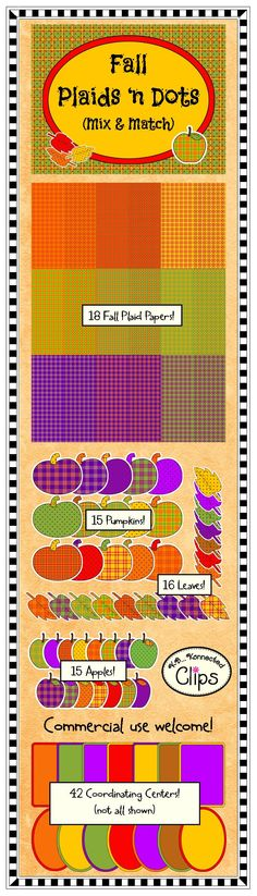 Fall Plaid 'n Dots Mix & Match Collection - 100+ images! $ http://www.teacherspayteachers.com/Product/Clip-Art-Fall-Plaid-n-Dots-Mix-Match-Collection-842512
