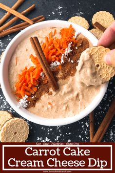 Simple and easy Carrot Cake Cream Cheese Dip recipe ready in 5 minutes. Fast spring or Easter dessert that is vegetarian and gluten free. Cheese Dip Recipes, Easy Appetizer Recipes, Easter Recipes, Easy Desserts, Snack Recipes, Dessert Recipes, Snacks, Free Recipes, Appetizers