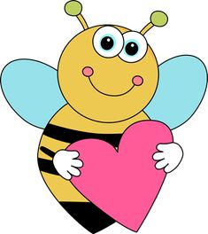 Bee Border Clip Art | Cartoon Valentine's Day Bee - cute cartoon bee holding a pink heart.