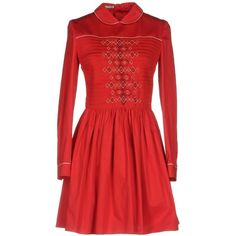Miu Miu Short Dress ($1,800) ❤ liked on Polyvore featuring dresses, red, long-sleeve mini dress, embroidered dress, red long sleeve dress, flared dress and peter pan collar dresses