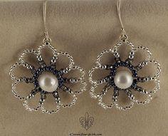 Silver flowers earrings E903 by Fleur-de-Irk