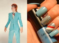 David Bowie blue suit inspired nails