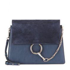 Chloé - Faye leather and suede shoulder bag - mytheresa.com