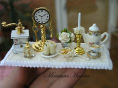 Miniature Dollhouse Decoration Set On The Wooden Board by Minicler