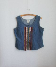 Blue Cotton Top Denim Blouse  Sleeveless  Shirt  Button up   Large Size