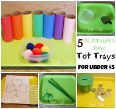 5 quick and easy toddler activities that encourage fine motor development, with a St. Montessori Toddler, Montessori Activities, Infant Activities, Activities For Kids, Calendar Activities, Montessori Bedroom, Classroom Activities, St Patrick Day Activities, Spring Activities
