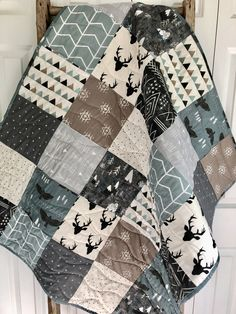 Your place to buy and sell all things handmade Rustic Woodland Aztec baby quilt, baby Boy bedding, toddler bedding, woodland nursery, blue gray gre Grey Nursery Boy, Woodland Nursery Boy, Tribal Nursery, Baby Girl Nursery Themes, Baby Boy Rooms, Baby Boy Nurseries, Nursery Decor, Woodland Baby, Rustic Nursery Boy