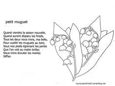 comptine : petit muguet 1. Mai, Lily Of The Valley, Craft Ideas, French, Pattern, Needlepoint, Draw, French People, Patterns