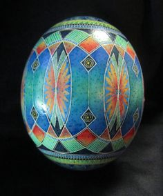ostrich egg in pisanki // pysanky style | batik egg | vesica piscis | by MarkMalachowski | $300.00 | do it, yourself / diy