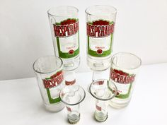 Desperados beer cut bottle upcycled goblet chalice shot glasses and candle holder by causewaybay on Etsy
