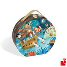 Puzzel over piraten met haaien. afm. 50 x 40 cm  Janod, het prachtige Franse speelgoedmerk. Staat bekent om zijn hoge kwaliteit en mooie designs. http://www.janod.nl/janod-puzzelkoffer-piraten-36-stuks.html