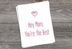 Mother's Day Card, Mother's Day Gift, Mom Card, Happy Mother's Day, Mom, You're The Best,