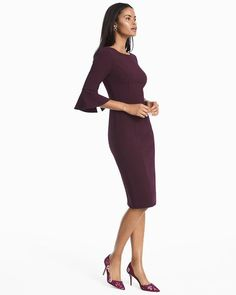 WHBM   Body Perfecting Ruffle Sleeve Sheath Dress