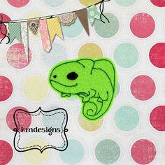 Chameleon lizard feltie ITH Embroidery design file